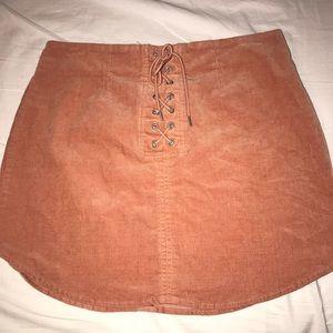 Orange Lace-Up Corduroy Skirt